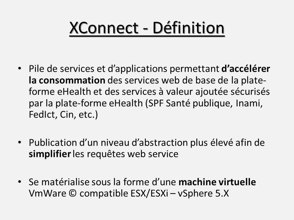 XConnect - Définition Pile de services et dapplications permettant daccélérer la consommation des services web de base de la plate- forme eHealth et d
