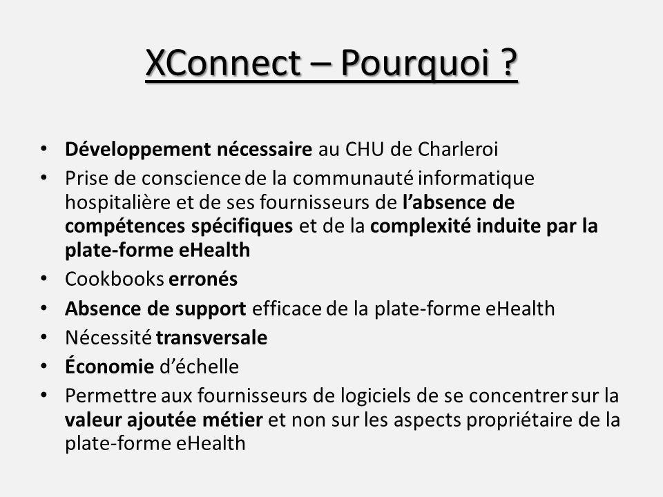 XConnect – Pourquoi ? Développement nécessaire au CHU de Charleroi Prise de conscience de la communauté informatique hospitalière et de ses fournisseu