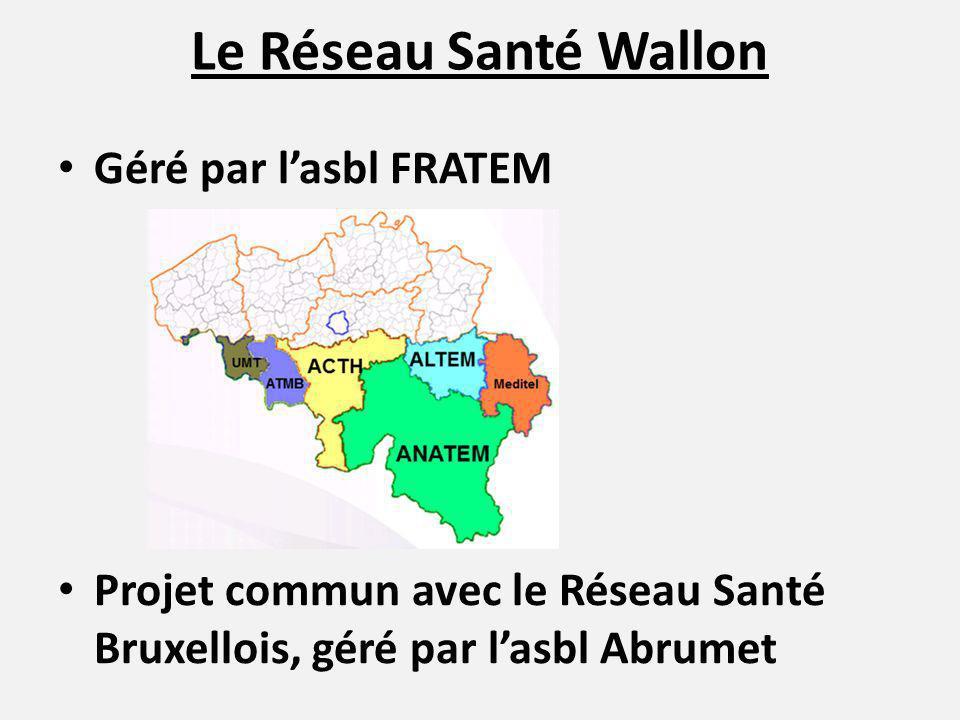 Le Réseau Santé Wallon Géré par lasbl FRATEM Projet commun avec le Réseau Santé Bruxellois, géré par lasbl Abrumet