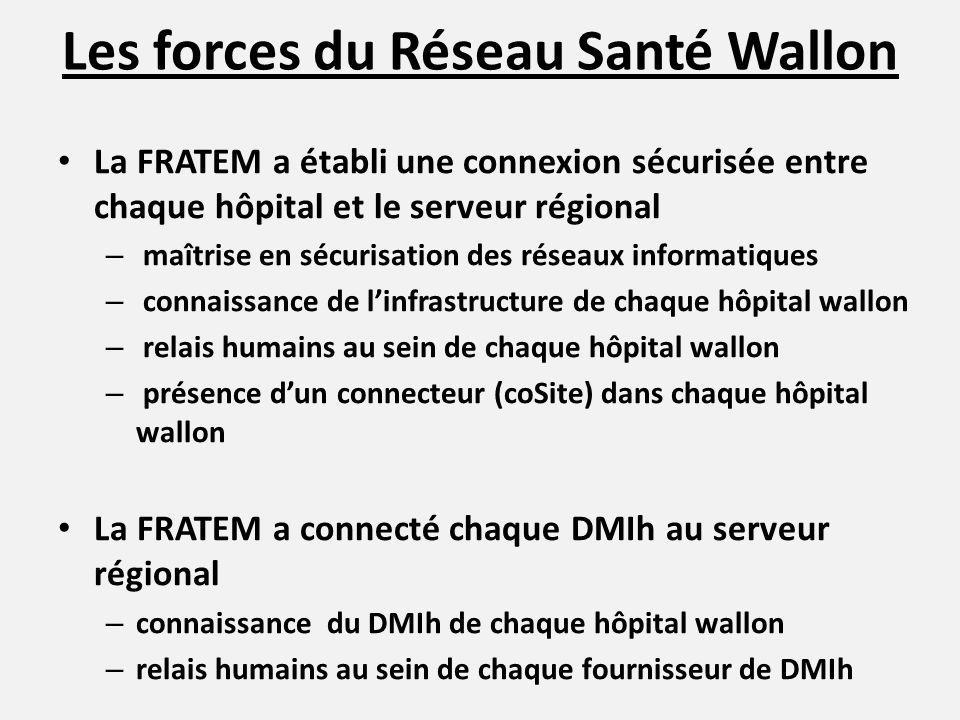 Les forces du Réseau Santé Wallon 33 hôpitaux généraux connectés