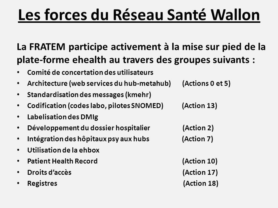 Les forces du Réseau Santé Wallon La FRATEM participe activement à la mise sur pied de la plate-forme ehealth au travers des groupes suivants : Comité