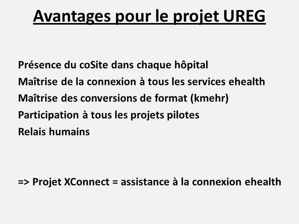 Avantages pour le projet UREG Présence du coSite dans chaque hôpital Maîtrise de la connexion à tous les services ehealth Maîtrise des conversions de