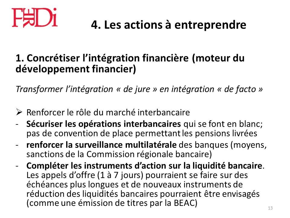 4. Les actions à entreprendre 1. Concrétiser lintégration financière (moteur du développement financier) Transformer lintégration « de jure » en intég