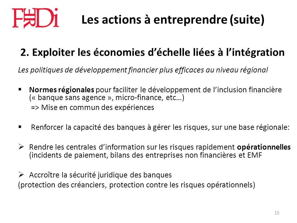 Les actions à entreprendre (suite) 2. Exploiter les économies déchelle liées à lintégration Les politiques de développement financier plus efficaces a