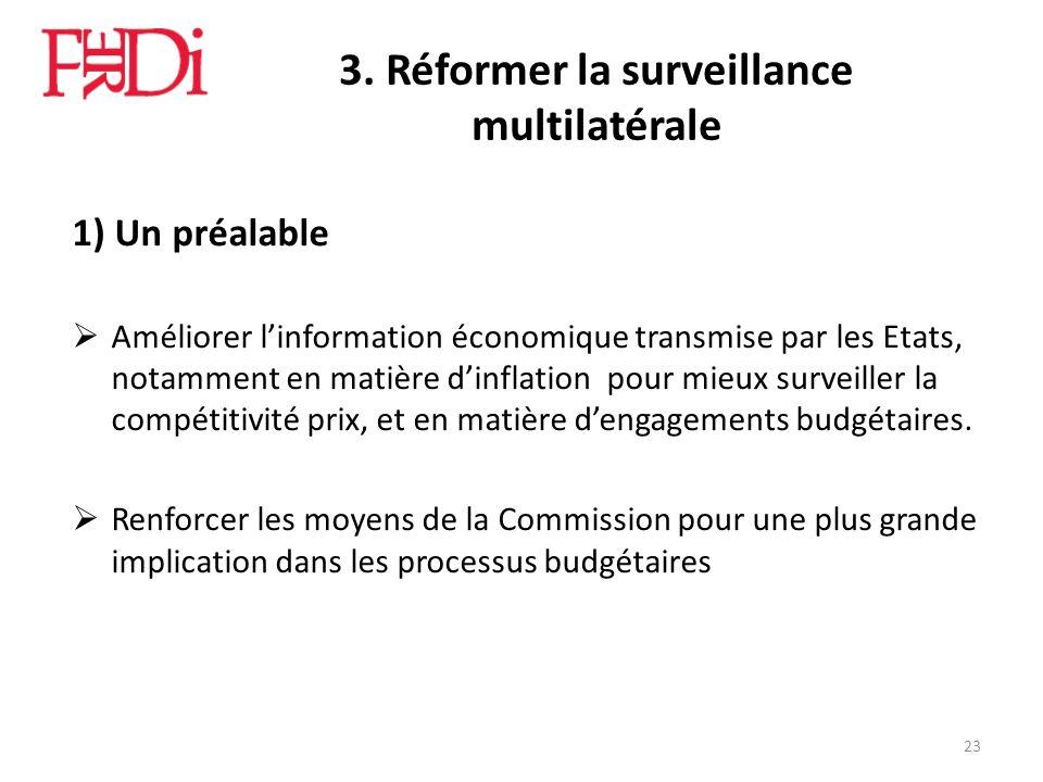 3. Réformer la surveillance multilatérale 1) Un préalable Améliorer linformation économique transmise par les Etats, notamment en matière dinflation p