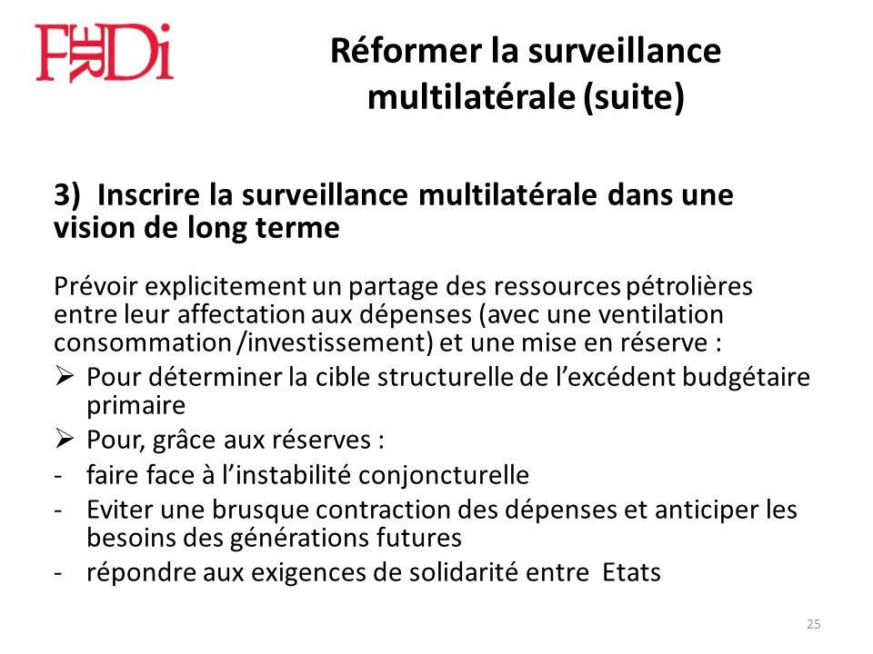 Réformer la surveillance multilatérale (suite) 3) Inscrire la surveillance multilatérale dans une vision de long terme Prévoir explicitement un partag