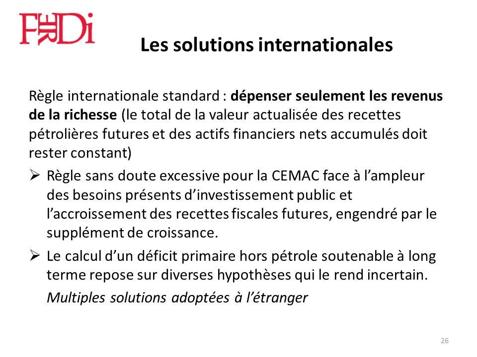 Les solutions internationales Règle internationale standard : dépenser seulement les revenus de la richesse (le total de la valeur actualisée des rece