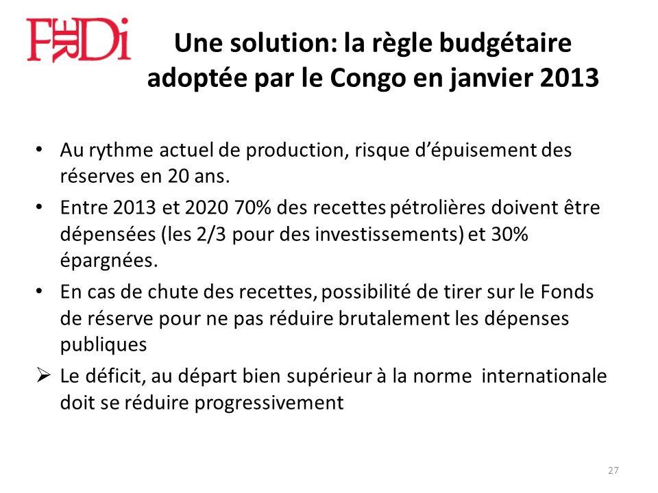 Une solution: la règle budgétaire adoptée par le Congo en janvier 2013 Au rythme actuel de production, risque dépuisement des réserves en 20 ans. Entr