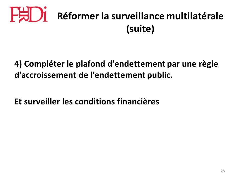 Réformer la surveillance multilatérale (suite) 4) Compléter le plafond dendettement par une règle daccroissement de lendettement public. Et surveiller