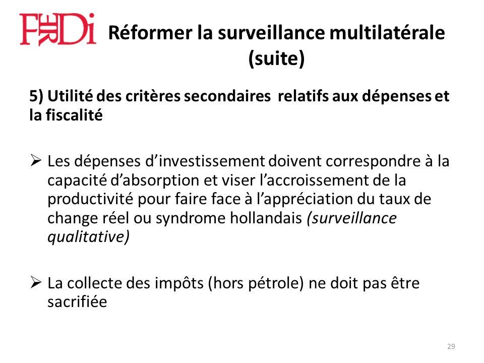 Réformer la surveillance multilatérale (suite) 5) Utilité des critères secondaires relatifs aux dépenses et la fiscalité Les dépenses dinvestissement