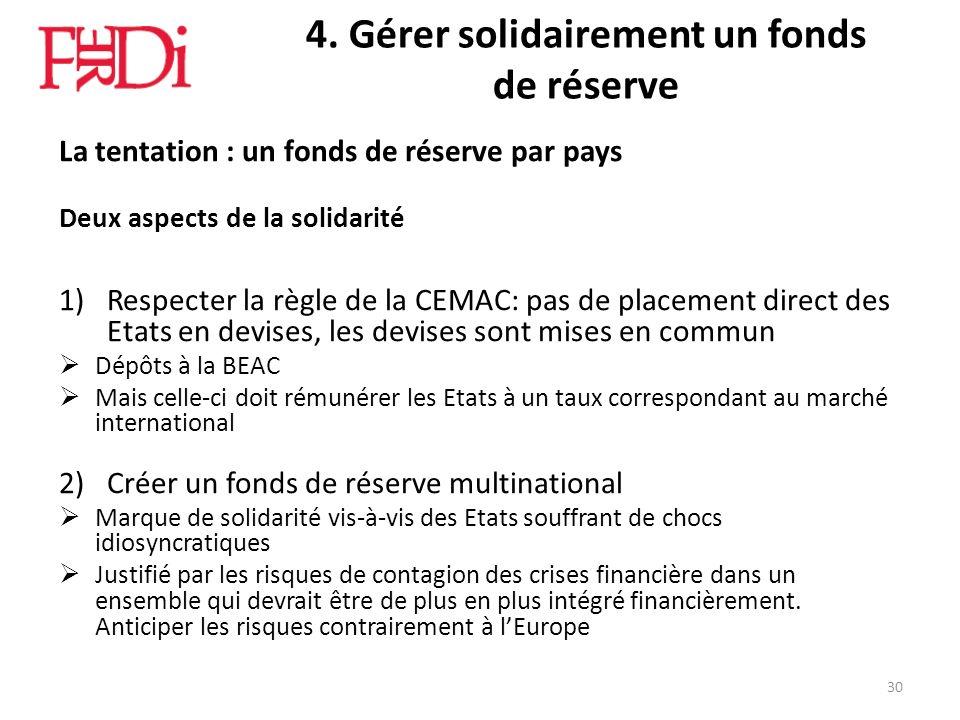 4. Gérer solidairement un fonds de réserve La tentation : un fonds de réserve par pays Deux aspects de la solidarité 1)Respecter la règle de la CEMAC: