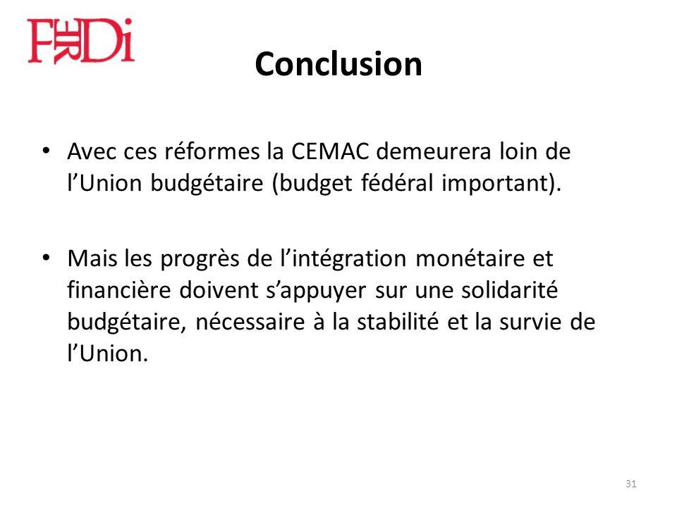 Conclusion Avec ces réformes la CEMAC demeurera loin de lUnion budgétaire (budget fédéral important). Mais les progrès de lintégration monétaire et fi
