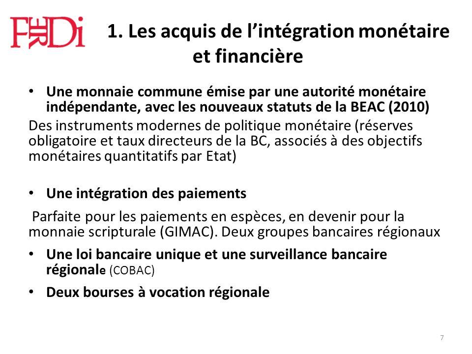 Le 1. Les acquis de lintégration monétaire et financière Une monnaie commune émise par une autorité monétaire indépendante, avec les nouveaux statuts