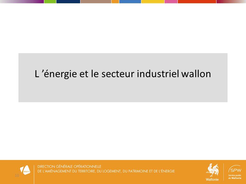 11 Consommation finale de lindustrie En 2012, Consommation finale de lindustrie = 35% du total wallon Sidérurgie = 14% Minéraux non métal.