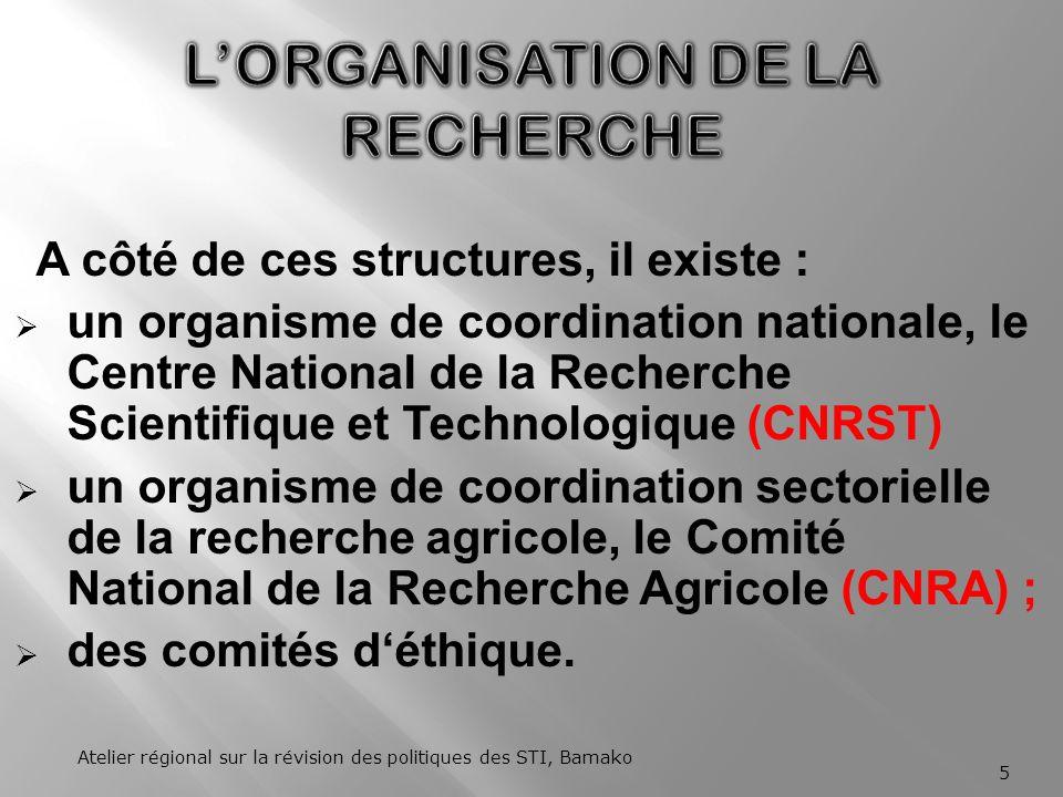 Le système national de recherche du Mali est constitué : dinstituts nationaux de recherche de structures universitaires que sont les facultés, les instituts duniversité et les grandes écoles.