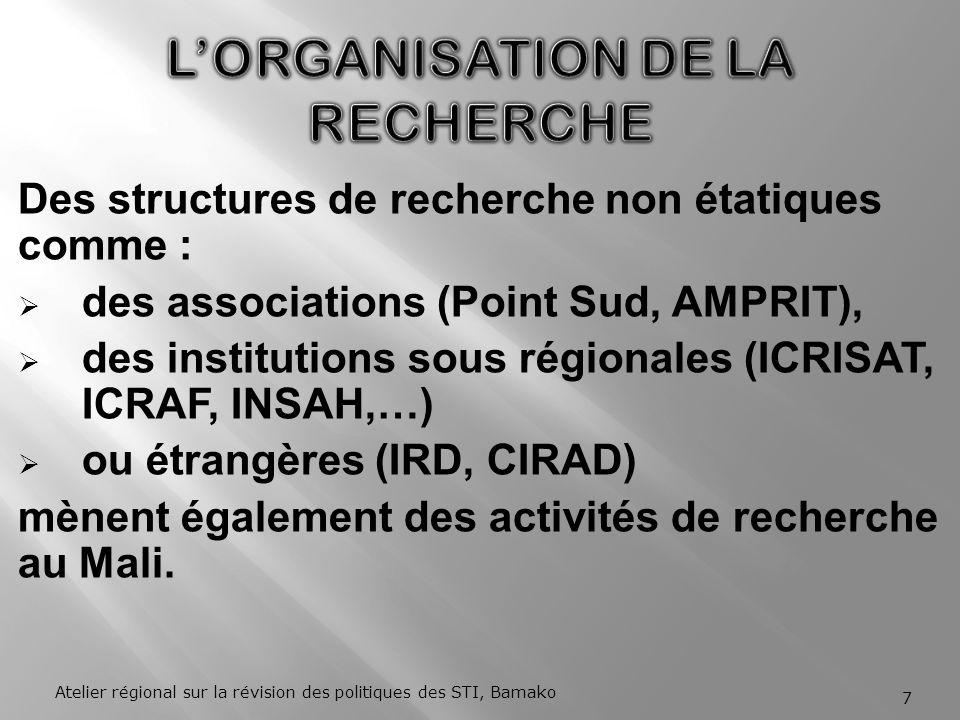 Des structures de recherche non étatiques comme : des associations (Point Sud, AMPRIT), des institutions sous régionales (ICRISAT, ICRAF, INSAH,…) ou étrangères (IRD, CIRAD) mènent également des activités de recherche au Mali.