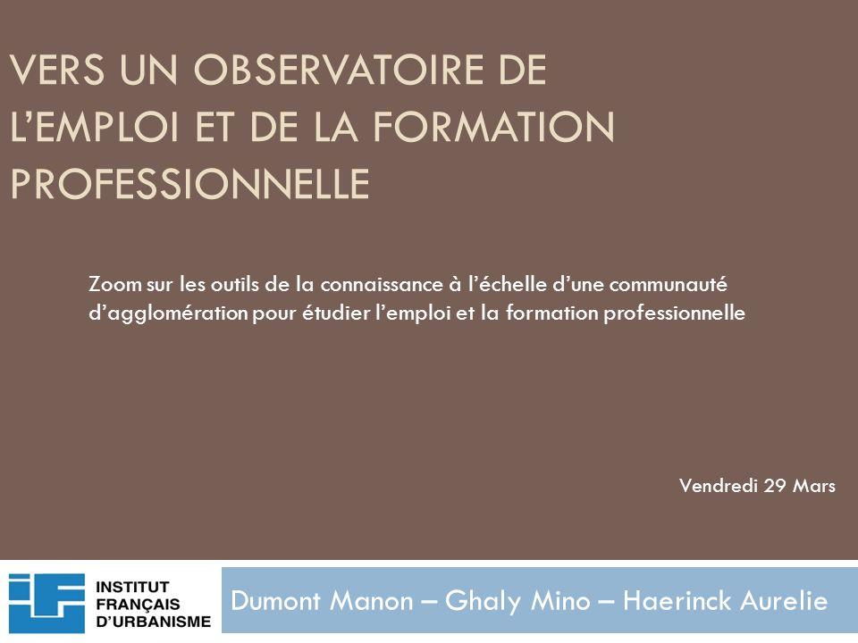 VERS UN OBSERVATOIRE DE LEMPLOI ET DE LA FORMATION PROFESSIONNELLE Dumont Manon – Ghaly Mino – Haerinck Aurelie Zoom sur les outils de la connaissance