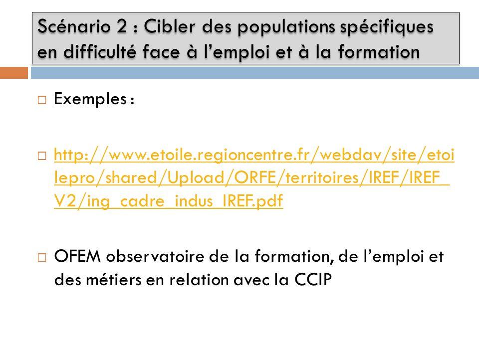 Exemples : http://www.etoile.regioncentre.fr/webdav/site/etoi lepro/shared/Upload/ORFE/territoires/IREF/IREF_ V2/ing_cadre_indus_IREF.pdf http://www.etoile.regioncentre.fr/webdav/site/etoi lepro/shared/Upload/ORFE/territoires/IREF/IREF_ V2/ing_cadre_indus_IREF.pdf OFEM observatoire de la formation, de lemploi et des métiers en relation avec la CCIP Scénario 2 : Cibler des populations spécifiques en difficulté face à lemploi et à la formation