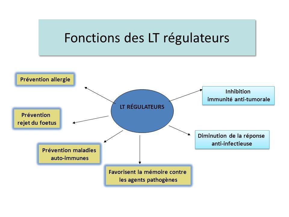 Fonctions des LT régulateurs LT RÉGULATEURS Inhibition immunité anti-tumorale Inhibition immunité anti-tumorale Favorisent la mémoire contre les agent