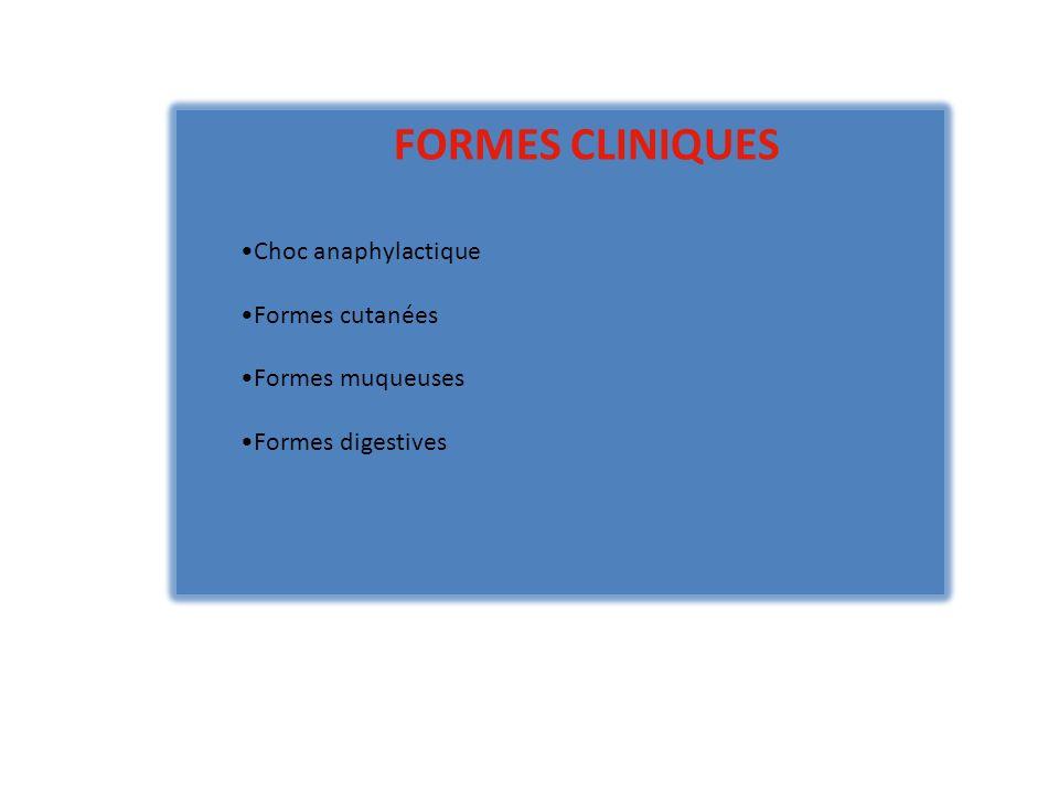FORMES CLINIQUES Choc anaphylactique Formes cutanées Formes muqueuses Formes digestives