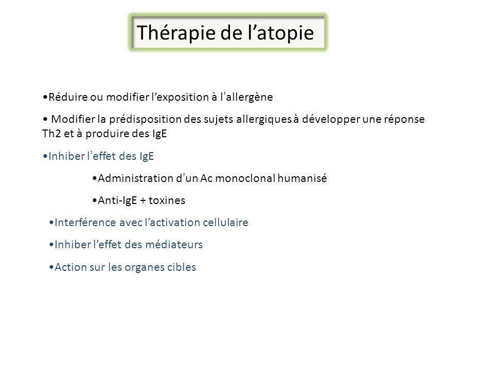 Thérapie de latopie Réduire ou modifier lexposition à lallergène Modifier la prédisposition des sujets allergiques à développer une réponse Th2 et à p