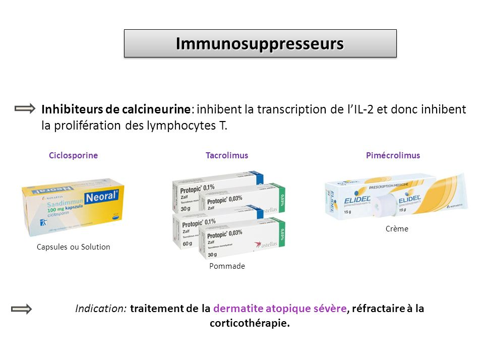 ImmunosuppresseursImmunosuppresseurs Inhibiteurs de calcineurine: inhibent la transcription de lIL-2 et donc inhibent la prolifération des lymphocytes