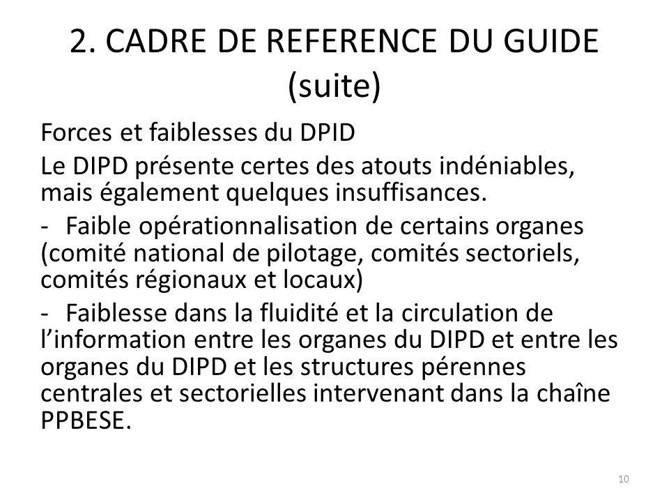 2. CADRE DE REFERENCE DU GUIDE (suite) Forces et faiblesses du DPID Le DIPD présente certes des atouts indéniables, mais également quelques insuffisan