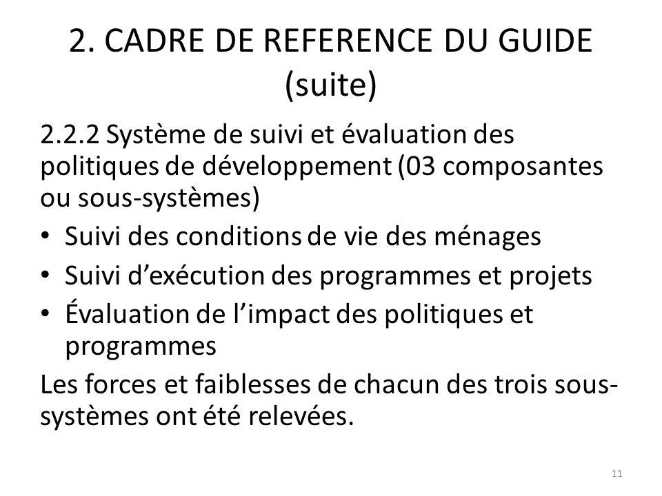 2. CADRE DE REFERENCE DU GUIDE (suite) 2.2.2 Système de suivi et évaluation des politiques de développement (03 composantes ou sous-systèmes) Suivi de