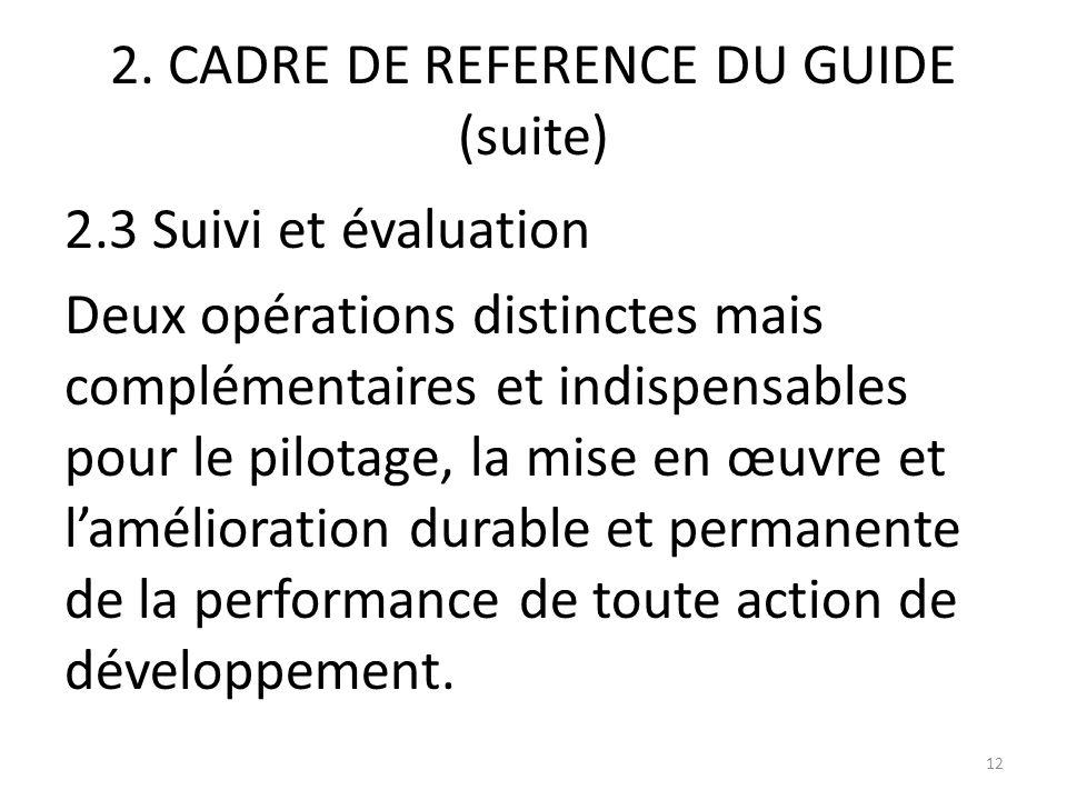 2. CADRE DE REFERENCE DU GUIDE (suite) 2.3 Suivi et évaluation Deux opérations distinctes mais complémentaires et indispensables pour le pilotage, la