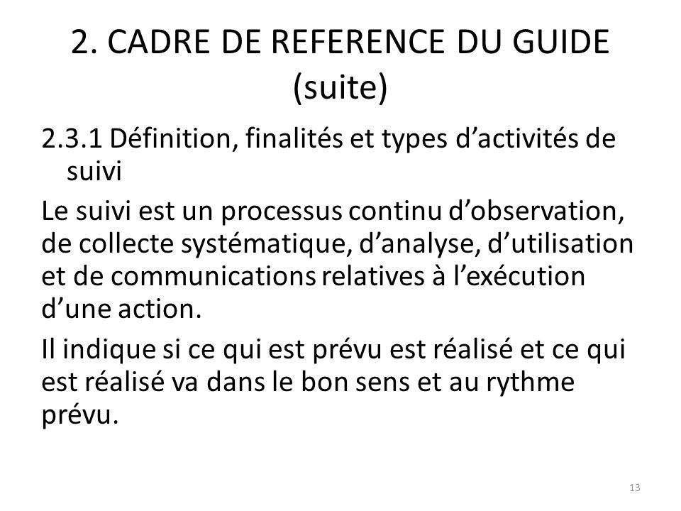 2. CADRE DE REFERENCE DU GUIDE (suite) 2.3.1 Définition, finalités et types dactivités de suivi Le suivi est un processus continu dobservation, de col