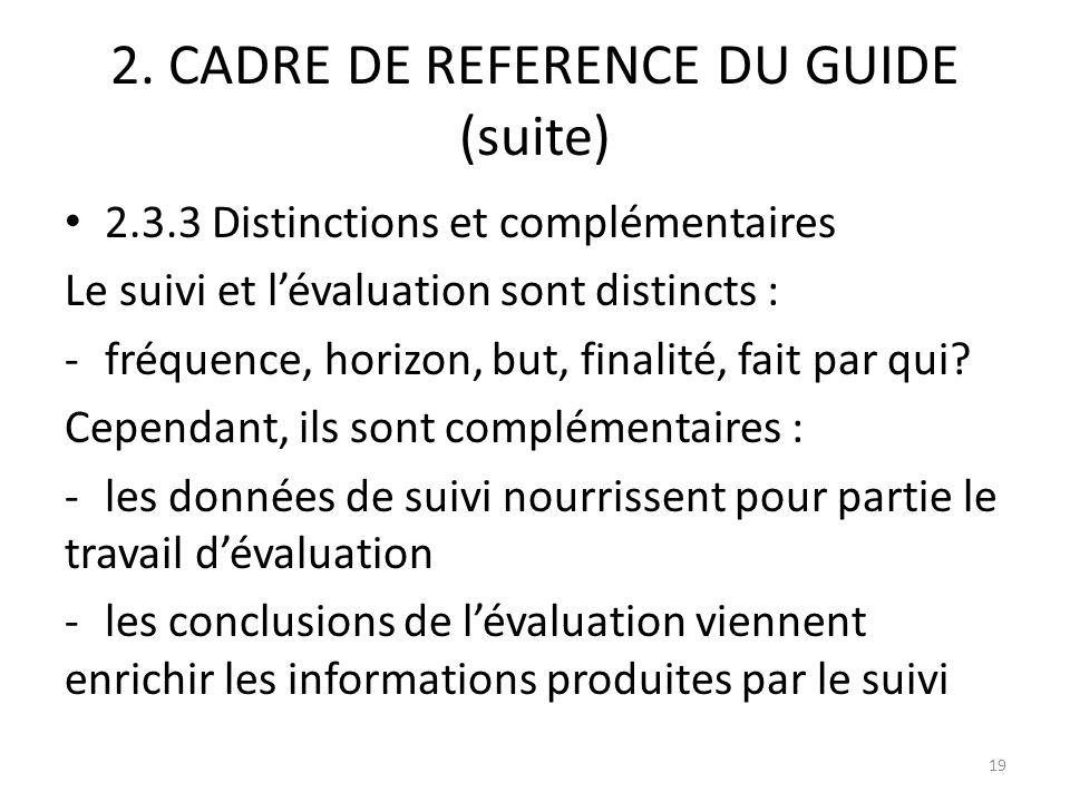 2. CADRE DE REFERENCE DU GUIDE (suite) 2.3.3 Distinctions et complémentaires Le suivi et lévaluation sont distincts : -fréquence, horizon, but, finali