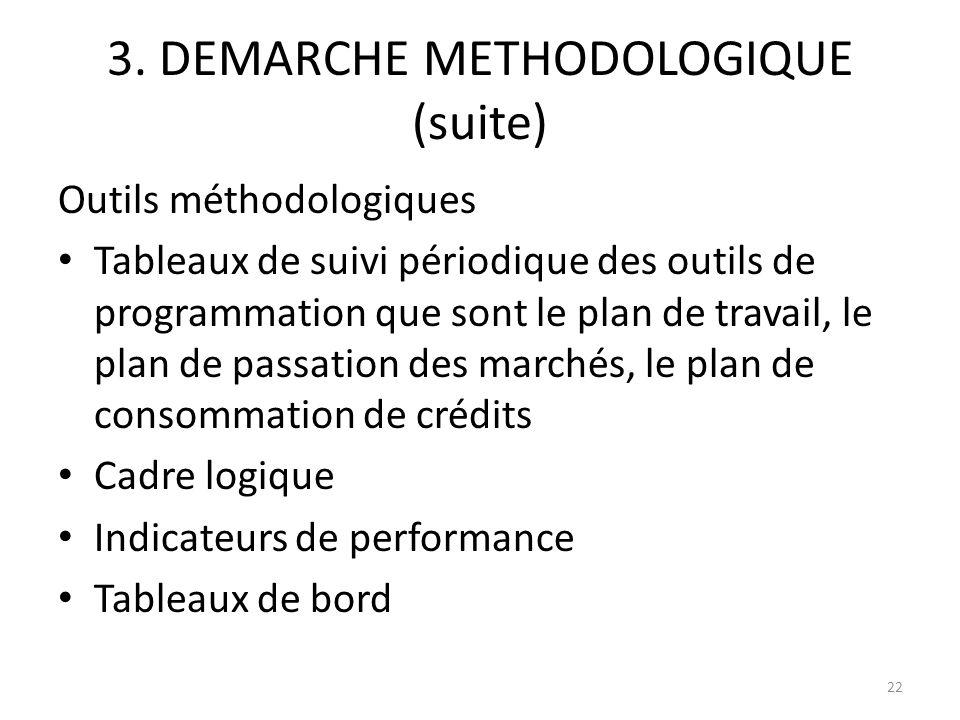 3. DEMARCHE METHODOLOGIQUE (suite) Outils méthodologiques Tableaux de suivi périodique des outils de programmation que sont le plan de travail, le pla