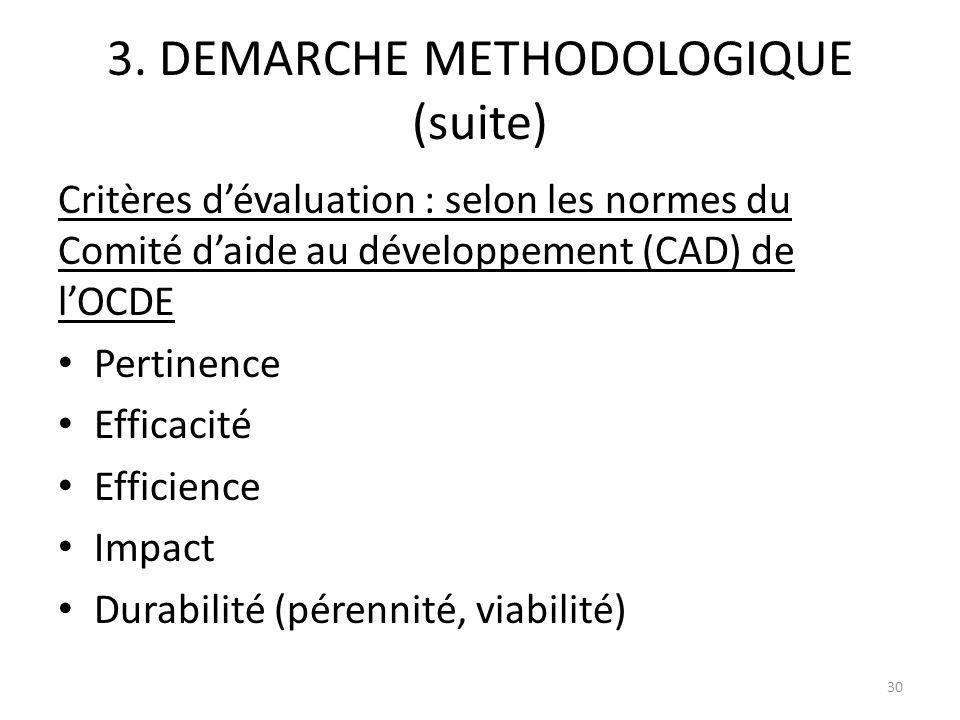 3. DEMARCHE METHODOLOGIQUE (suite) Critères dévaluation : selon les normes du Comité daide au développement (CAD) de lOCDE Pertinence Efficacité Effic