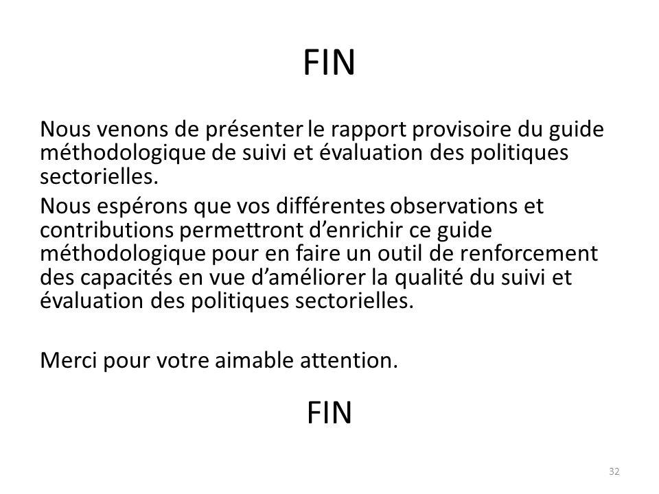 FIN Nous venons de présenter le rapport provisoire du guide méthodologique de suivi et évaluation des politiques sectorielles. Nous espérons que vos d