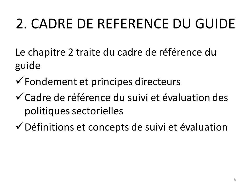 2. CADRE DE REFERENCE DU GUIDE Le chapitre 2 traite du cadre de référence du guide Fondement et principes directeurs Cadre de référence du suivi et év