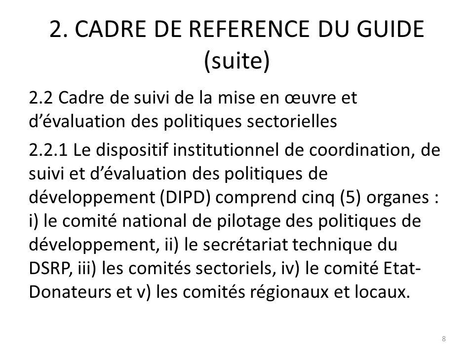 2. CADRE DE REFERENCE DU GUIDE (suite) 2.2 Cadre de suivi de la mise en œuvre et dévaluation des politiques sectorielles 2.2.1 Le dispositif instituti