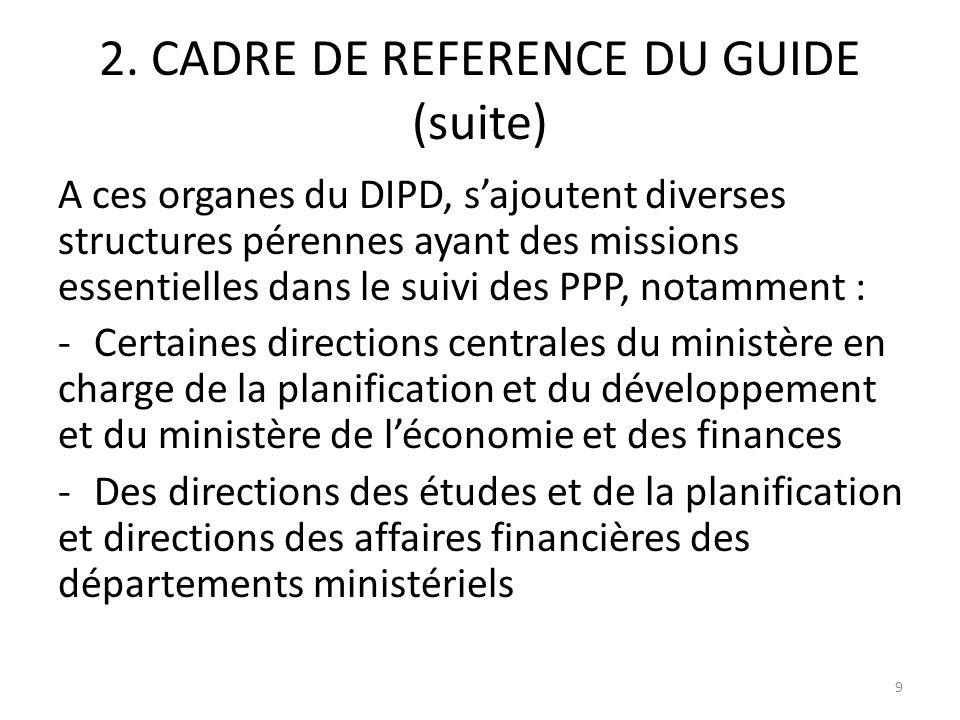 2. CADRE DE REFERENCE DU GUIDE (suite) A ces organes du DIPD, sajoutent diverses structures pérennes ayant des missions essentielles dans le suivi des