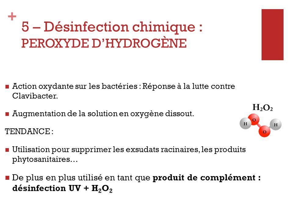 + 5 - Désinfection chimique : CHLORE AVANTAGES Assez économique Biocide efficace Rémanence de la désinfection Action nettoyante sur le réseau dirrigation INCONVENIENTS Nécessité de stocker la solution pour temps de contact important Agit sur lEc, le pH + Fer - Mn Risques de phytotoxicité (chlorate de sodium) Dispositif de contrôle du chlore résiduel obligatoire Oxydation de M.O et micro- organismes par le chlore Dose à linjection : 2 à 3 mg/L de chlore actif sur leau dirrigation Dose à linjection : 8 à 10 mg/L sur la solution de drainage Coût pour traitement de 2-6m 3 /h: 2300 + 2.5 /m 3