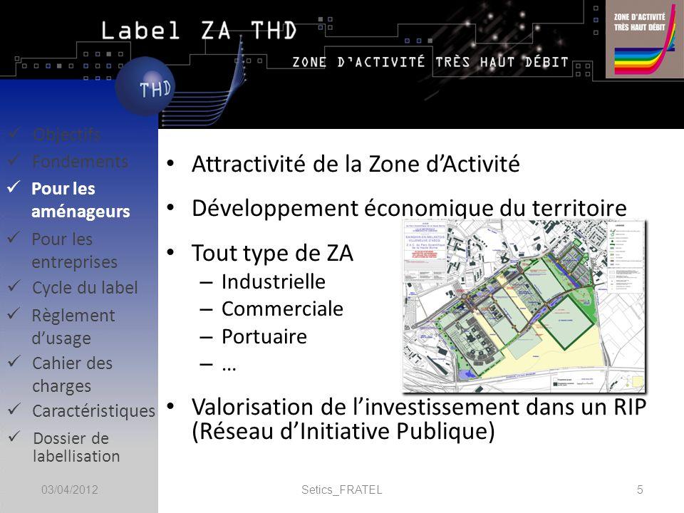 Les Zones dActivité en France : – LAVICCA répertorie 4500 ZA desservies par la fibre optique dans les projets RIP – Dans les SDAN publiés (un tiers à début mars 2012), 2400 ZA sont identifiées comme prioritaires pour la desserte en fibre optique Nos objectifs prévisionnels : – Fin 2012 : 400 ZA labellisées – Fin 2013 : 1000 ZA labellisées Setics_FRATEL603/04/2012 Caractéristiques Règlement dusage Objectifs Fondements Pour les aménageurs Pour les entreprises Cycle du label Cahier des charges Dossier de labellisation