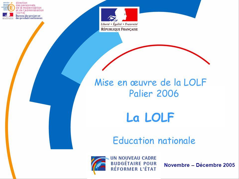 1 La LOLF Mise en œuvre de la LOLF Palier 2006 La LOLF Education nationale Novembre – Décembre 2005 direction des personnels, de la modernisation et d
