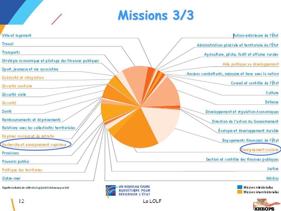 12 La LOLF Missions 3/3