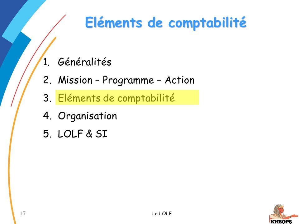 17 La LOLF Eléments de comptabilité 1.Généralités 2.Mission – Programme – Action 3.Eléments de comptabilité 4.Organisation 5.LOLF & SI