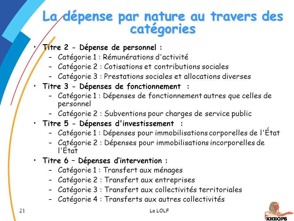 21 La LOLF La dépense par nature au travers des catégories Titre 2 - Dépense de personnel : –Catégorie 1 : Rémunérations d'activité –Catégorie 2 : Cot