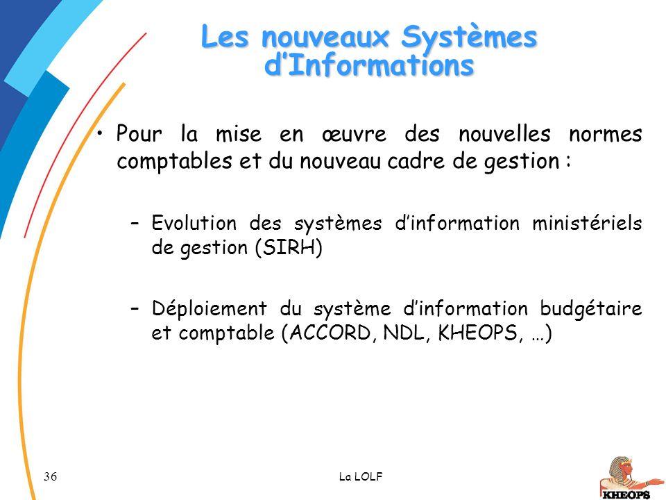 36 La LOLF Les nouveaux Systèmes dInformations Pour la mise en œuvre des nouvelles normes comptables et du nouveau cadre de gestion : –Evolution des s
