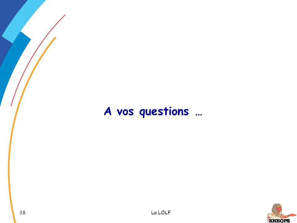 38 La LOLF A vos questions …