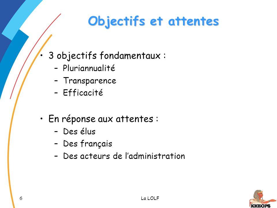 6 La LOLF Objectifs et attentes 3 objectifs fondamentaux : –Pluriannualité –Transparence –Efficacité En réponse aux attentes : –Des élus –Des français