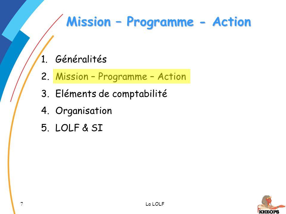 7 La LOLF Mission – Programme - Action 1.Généralités 2.Mission – Programme – Action 3.Eléments de comptabilité 4.Organisation 5.LOLF & SI