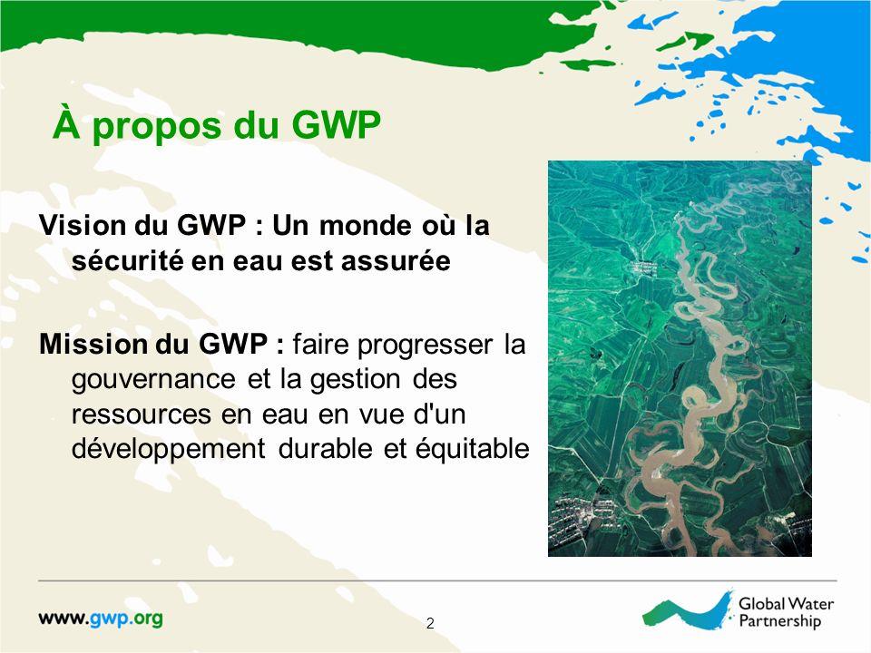 À propos du GWP Vision du GWP : Un monde où la sécurité en eau est assurée Mission du GWP : faire progresser la gouvernance et la gestion des ressourc