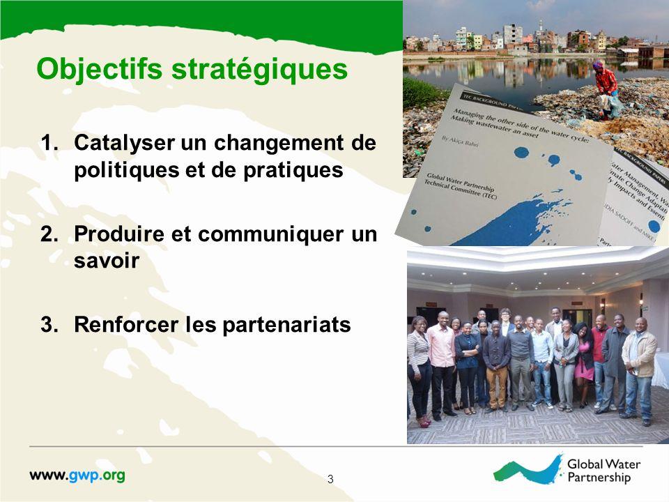 1.Catalyser un changement de politiques et de pratiques 2.Produire et communiquer un savoir 3.Renforcer les partenariats 3 Objectifs stratégiques