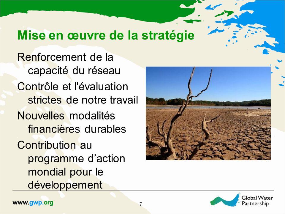 Mise en œuvre de la stratégie Renforcement de la capacité du réseau Contrôle et l évaluation strictes de notre travail Nouvelles modalités financières durables Contribution au programme daction mondial pour le développement 7